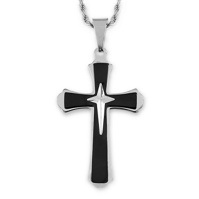 Men's West Coast Jewelry Two-Tone Stainless Steel Flared Triple Layer Cross Pendant