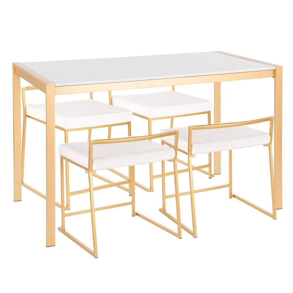 5pc Fuji Contemporary Dining Marble Top Table Set Gold/White - Lumisource, Marble Top Gold/White