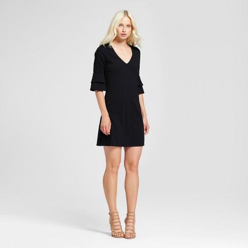 7f8d70c0ad438 Women s 3 4 Sleeve V-Neck Ruffle Bell Sleeve Dress - Vanity Room Black