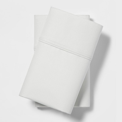 Standard 400 Thread Count Solid Cotton Performance Pillowcase Set Morning Frost - Threshold™