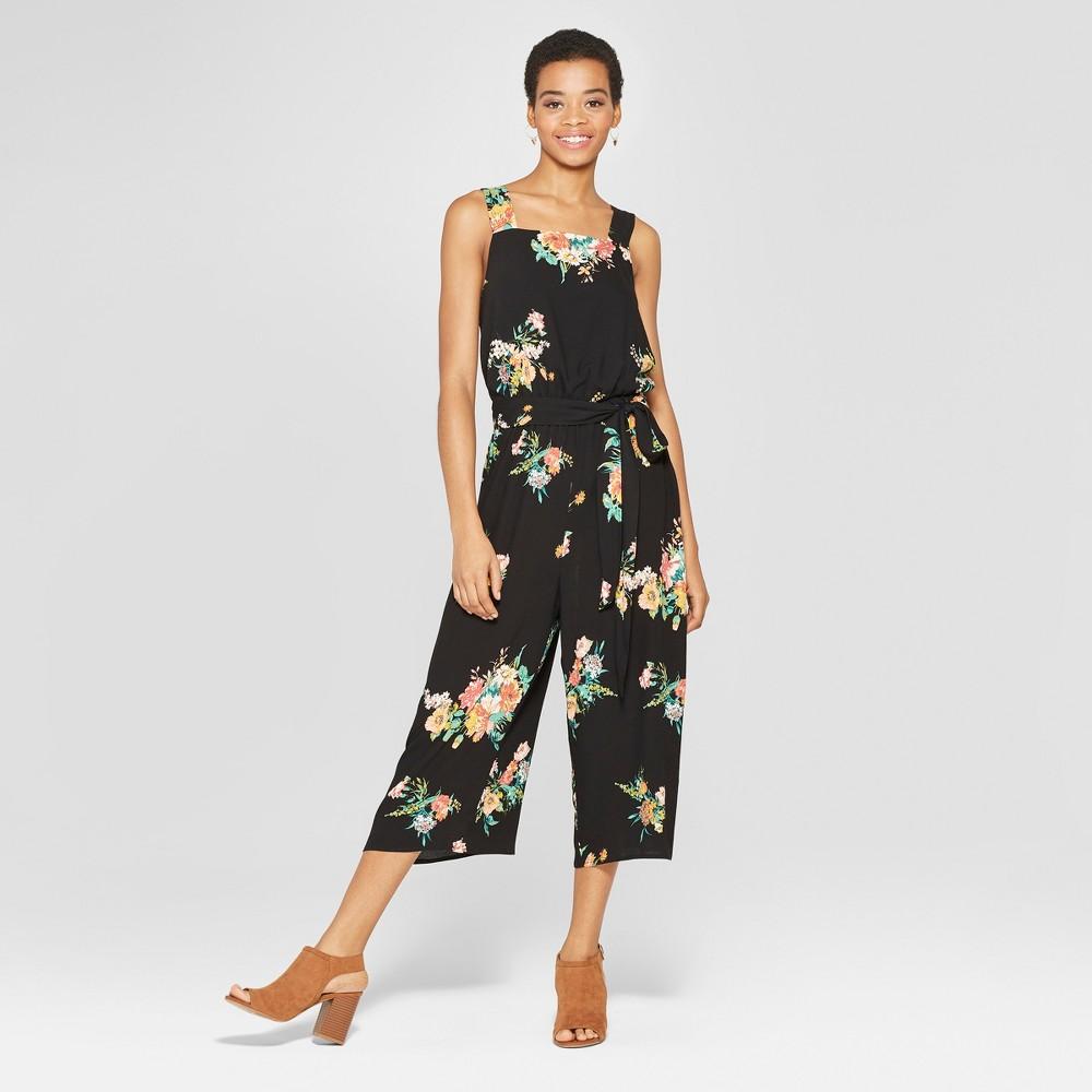 Women's Floral Print Strappy Square Neck Waist Tie Cropped Jumpsuit - Xhilaration Black XS