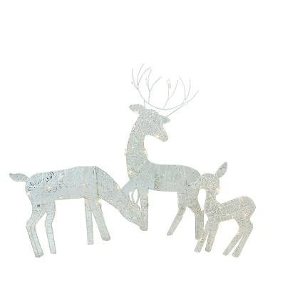 """Penn Set of 3 White Glittered Lighted Christmas Outdoor Decors 30"""""""