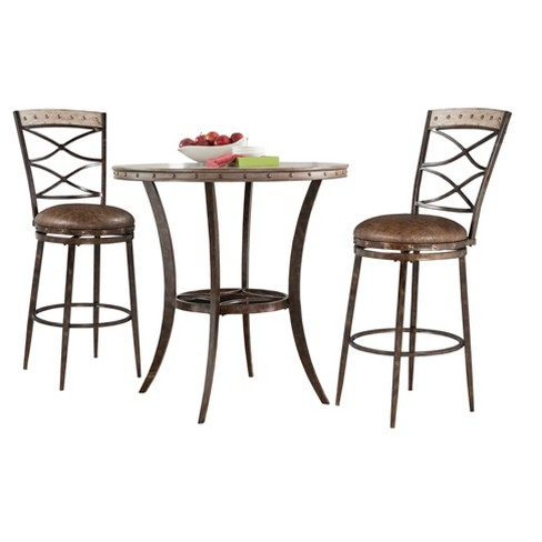 Emmons 3pc Bar Height Bistro Dining Set - Washed Gray - Hillsdale Furniture - image 1 of 2
