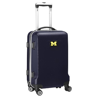 NCAA Michigan Wolverines Navy Hardcase Spinner Carry On Suitcase