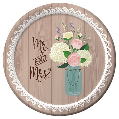 "Rustic Wedding 7"" Dessert Plates - 8ct"