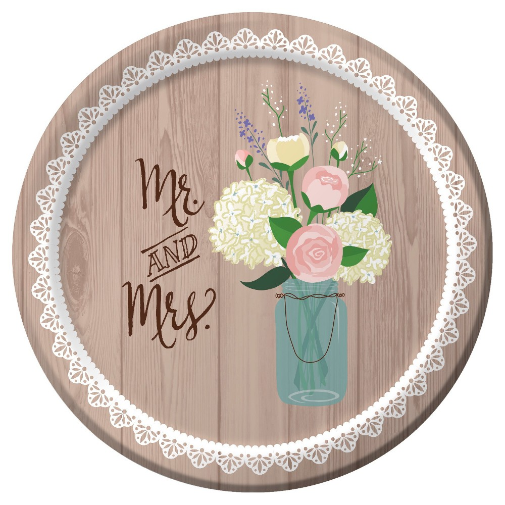 "Image of ""Rustic Wedding 7"""" Dessert Plates - 8ct"""