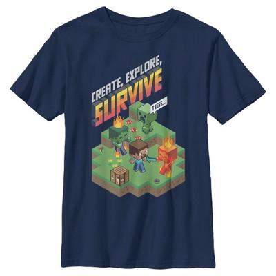 Boy's Minecraft Steve Create Explore Survive T-Shirt