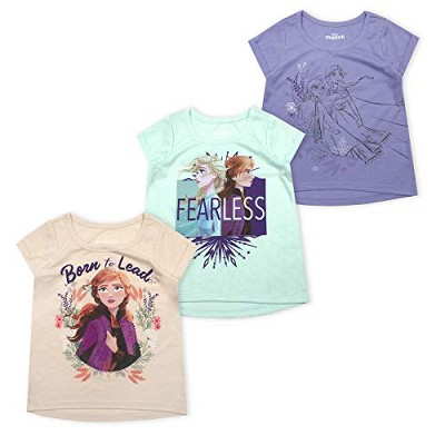 Disney Girl's 3-Pack Anna and Elsa Fearless Short Sleeve A-Line Frozen II Tee Shirts for Kids