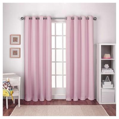 Woven Blackout Curtain Panel Set Bubble Gum (52 x84 )- Exclusive Home