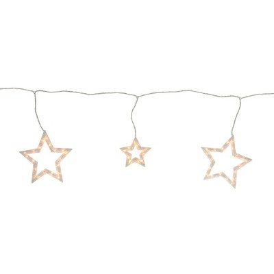 Northlight 6 Clear Star Shaped Icicle Christmas Lights - 9 ft White Wire