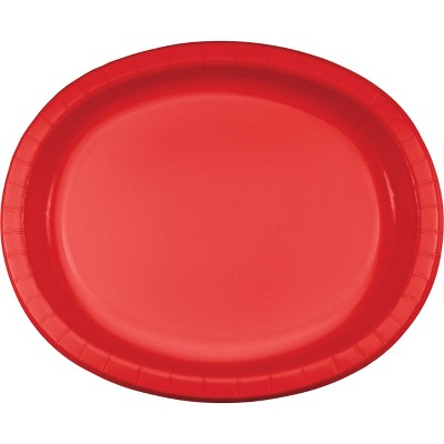 24ct Classic Red Oval Plates Red