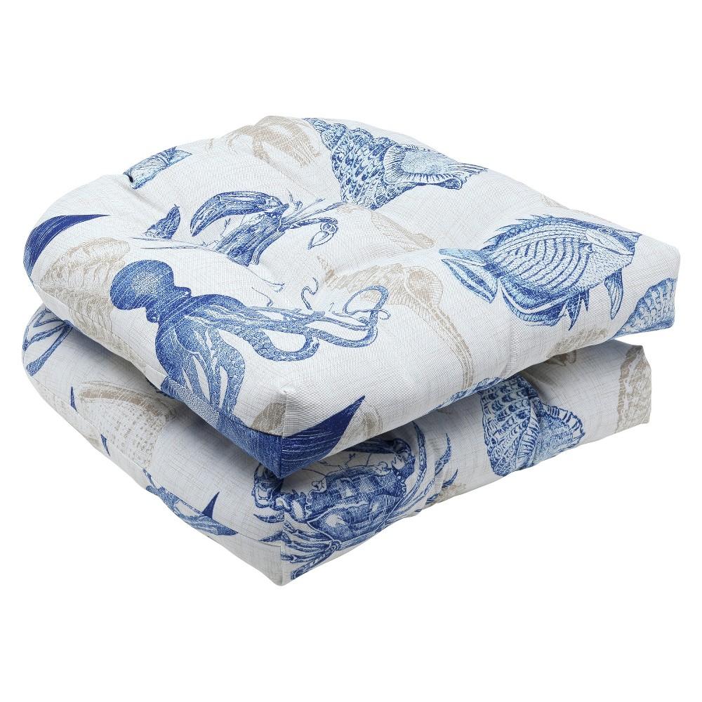 Pillow Perfect 2-Piece Outdoor Wicker Seat Cushions - Sealife, Blu/Tn Naut