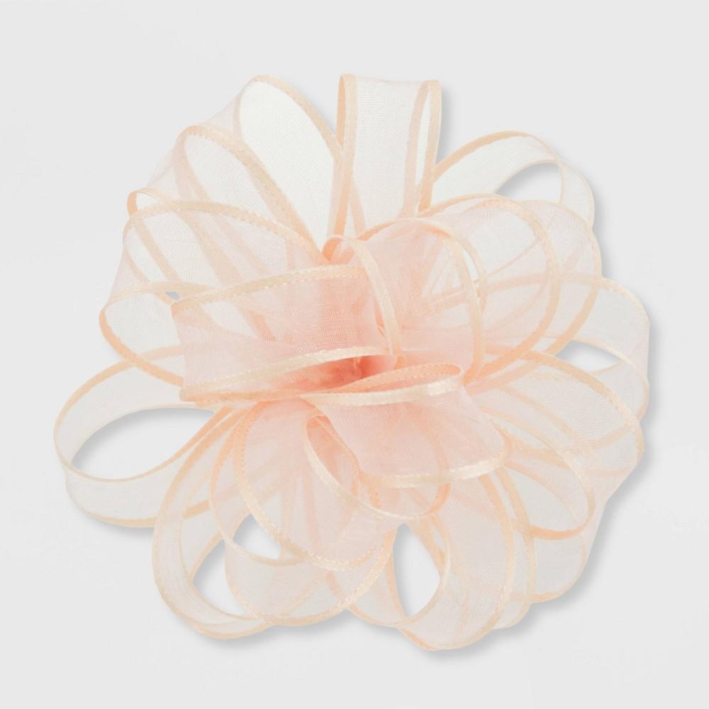 Image of Wedding Fabric Sheer Bow Peach - Spritz
