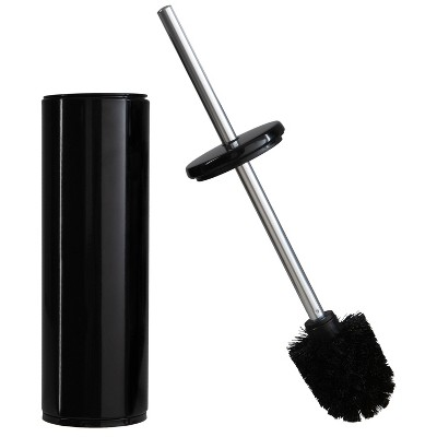 Deluxe Premium Aluminum Handle Black Toilet Brush with Fully Removable Liner Black - Bath Bliss