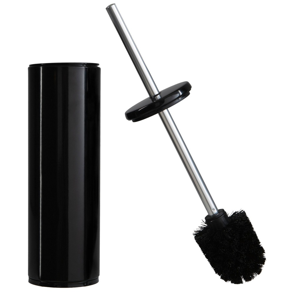 Image of Deluxe Premium Aluminum Handle Black Toilet Brush with Fully Removable Liner Black - Bath Bliss