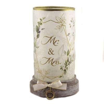 "Stony Creek 8.25"" Mr & Mrs Hurricane Pre-Lit Wedding Marriage  -  Decorative Vases"