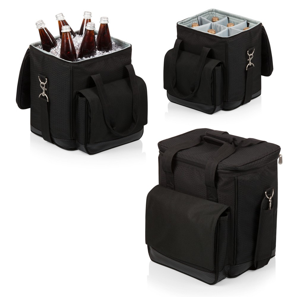 Image of Picnic Time Six Bottle Wine Carrier and Cooler Tote - Black