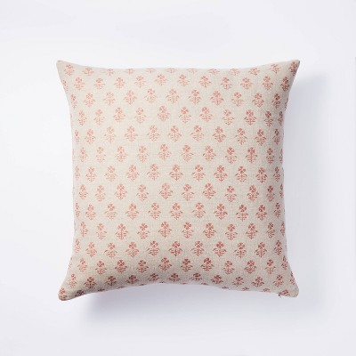 Square Floral Block Print Throw Pillow Neutral/Coral - Threshold™ designed with Studio McGee