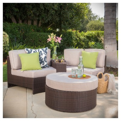 Madras Ibiza 4pc All-Weather Wicker Patio 1/2 Round Seating Set w/ Ottoman - Brown/Beige - Christopher Knight Home