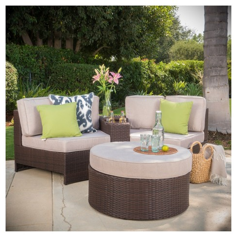 Miraculous Madras Ibiza 4Pc Wicker 1 2 Round Seating Set With Ottoman Christopher Knight Home Pabps2019 Chair Design Images Pabps2019Com