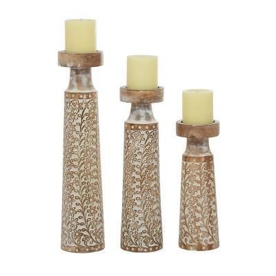 Set of 3 Rustic Cylindrical Mango Wood Candle Holders - Olivia & May