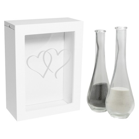 3ct White Two Hearts Wedding Sand Ceremony Shadow Box Set - image 1 of 1