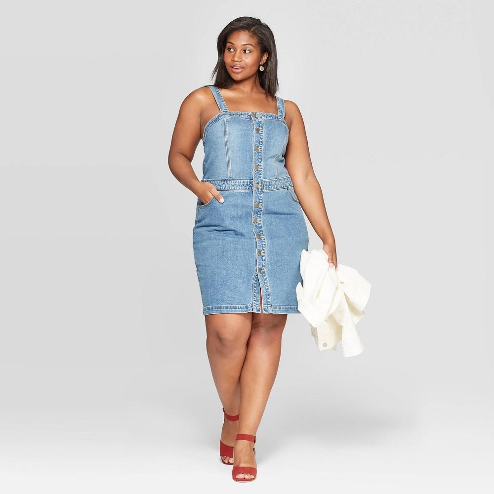 Women's Plus Size Sleeveless Square Neck Apron Denim Dress - Universal Thread Light Blue 14W