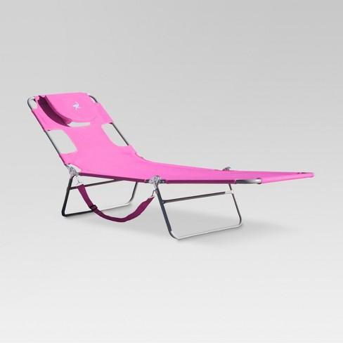 Beach Chaise Lounger Pink Ostrich