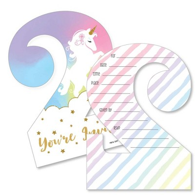Big Dot of Happiness 2nd Birthday Rainbow Unicorn - Shaped Fill-in Invites - Magical Second Birthday Party Invite Cards with Envelopes - Set of 12