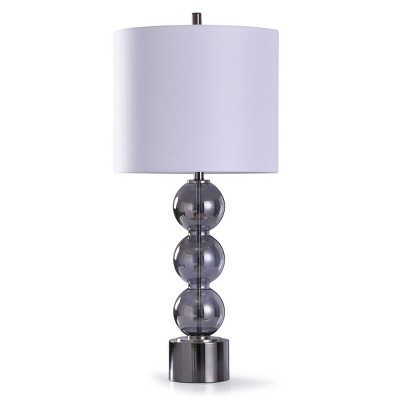 Sheldon Stacked Glass Orb Table Lamp with Drum Shade Silver - StyleCraft