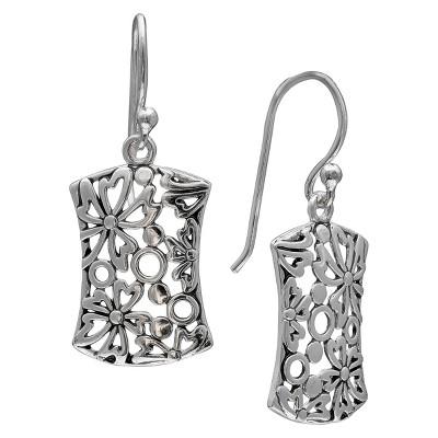 Women's Oxidized Filigree Flower Rectangle Earrings in Sterling Silver - Gray (29mm)