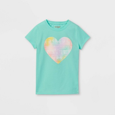 Girls' Tie-Dye Heart Graphic Short Sleeve T-Shirt - Cat & Jack™ Mint