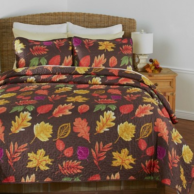 Lakeside Chocolate Country Leaves Rustic Quilt Set - Set of 3