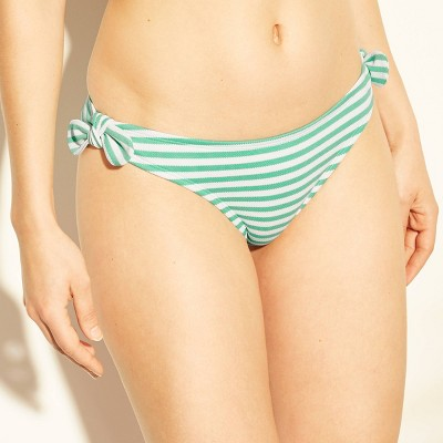 Women's Textured Stripe Tie Side Hipster Bikini Bottom  Shade & Shore Seafoam Green by Shade & Shore Seafoam Green