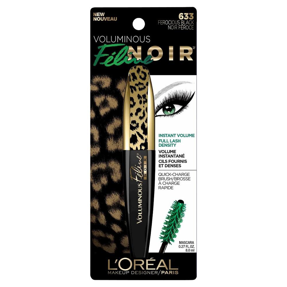 L'Oreal Paris Voluminous Feline Noir Mascara 633 Blackest Noir .27 fl oz, Ferocious Black 633