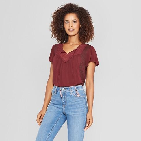 Womens Short Sleeve Tassel Split Neck Blouse Knox Rose Black Xs