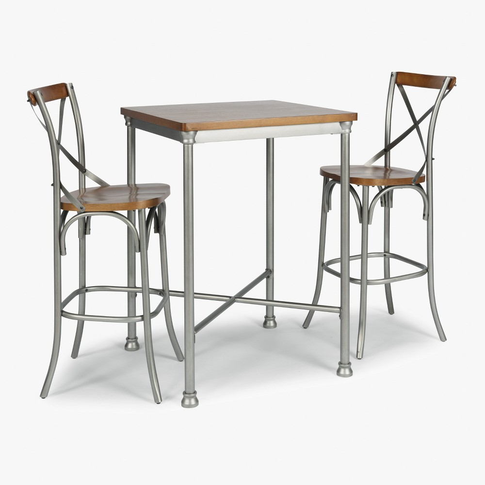 Orleans Wood Top Bar Table and 2 Stools Gray - Home Styles