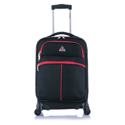 "InUSA Roller-Fi 20"" Softside Spinner Carry On Suitcase - Black/Red - image 1 of 6"