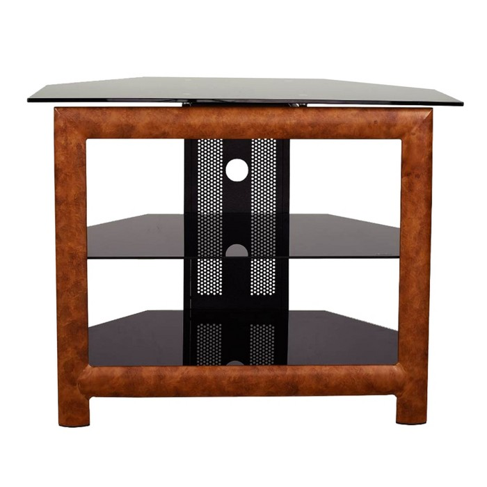 "24"" Glass/Wood TV Stand Brown - Home Source Industries - image 1 of 8"