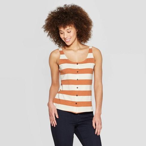 265d11880a6551 Women's Striped Button Front Scoop Neck Tank Top - Universal Thread™  White/Orange
