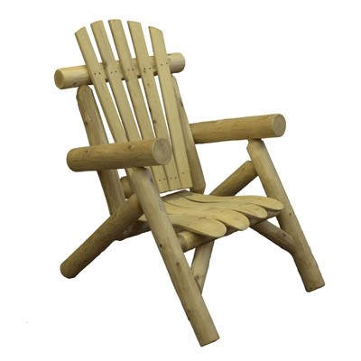 Lakeland Mills Country White Cedar Wood Log Outdoor Porch Patio Lounge Chair Furniture, Natural