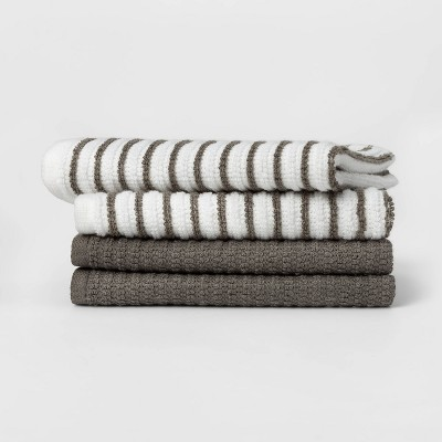 4pk Cotton Striped Dish Cloths Gray - Room Essentials™