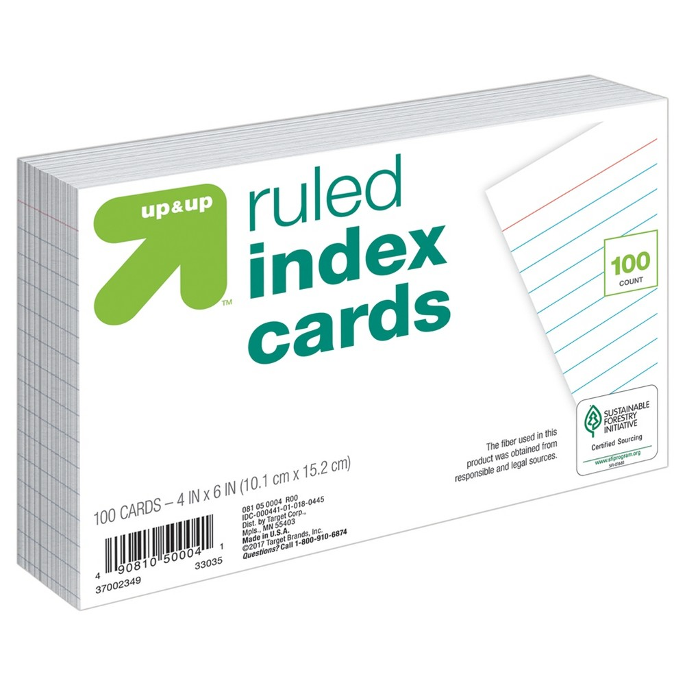 Index Cards Ruled 4 x 6 100ct White - Up&Up