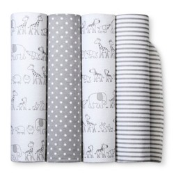 Flannel Baby Blankets Two by Two 4pk - Cloud Island™ Gray