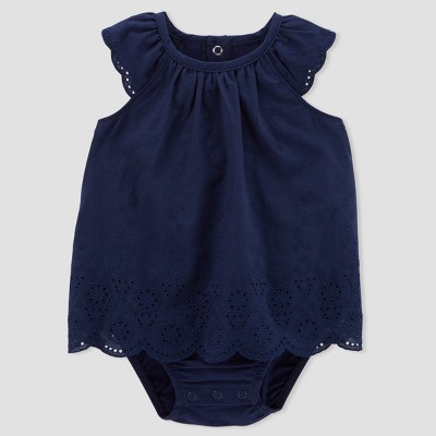 Baby Girls' 1pc Eyelet Sunsuit - Just One You® made by carter's Blue Newborn
