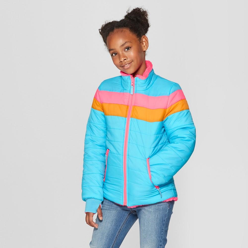 Girls' Reversible Puffer Jacket - Cat & Jack Blue M
