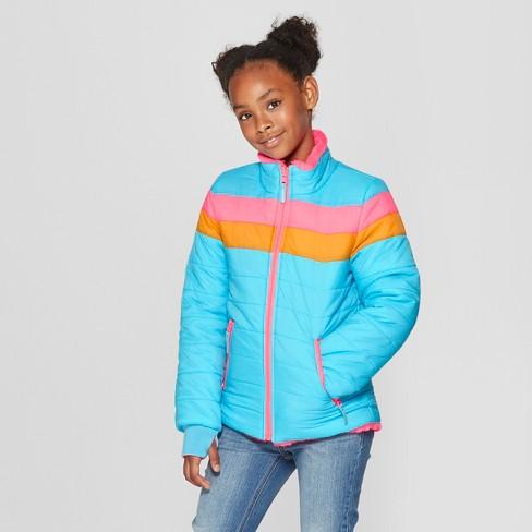 67752e4bb891 Girls  Reversible Puffer Jacket - Cat   Jack™ Blue   Target