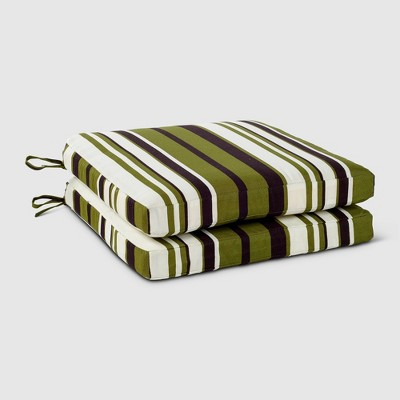 Rolston 2pk Outdoor Replacement Dining Chair Cushion Set Green Stripe - Haven Way