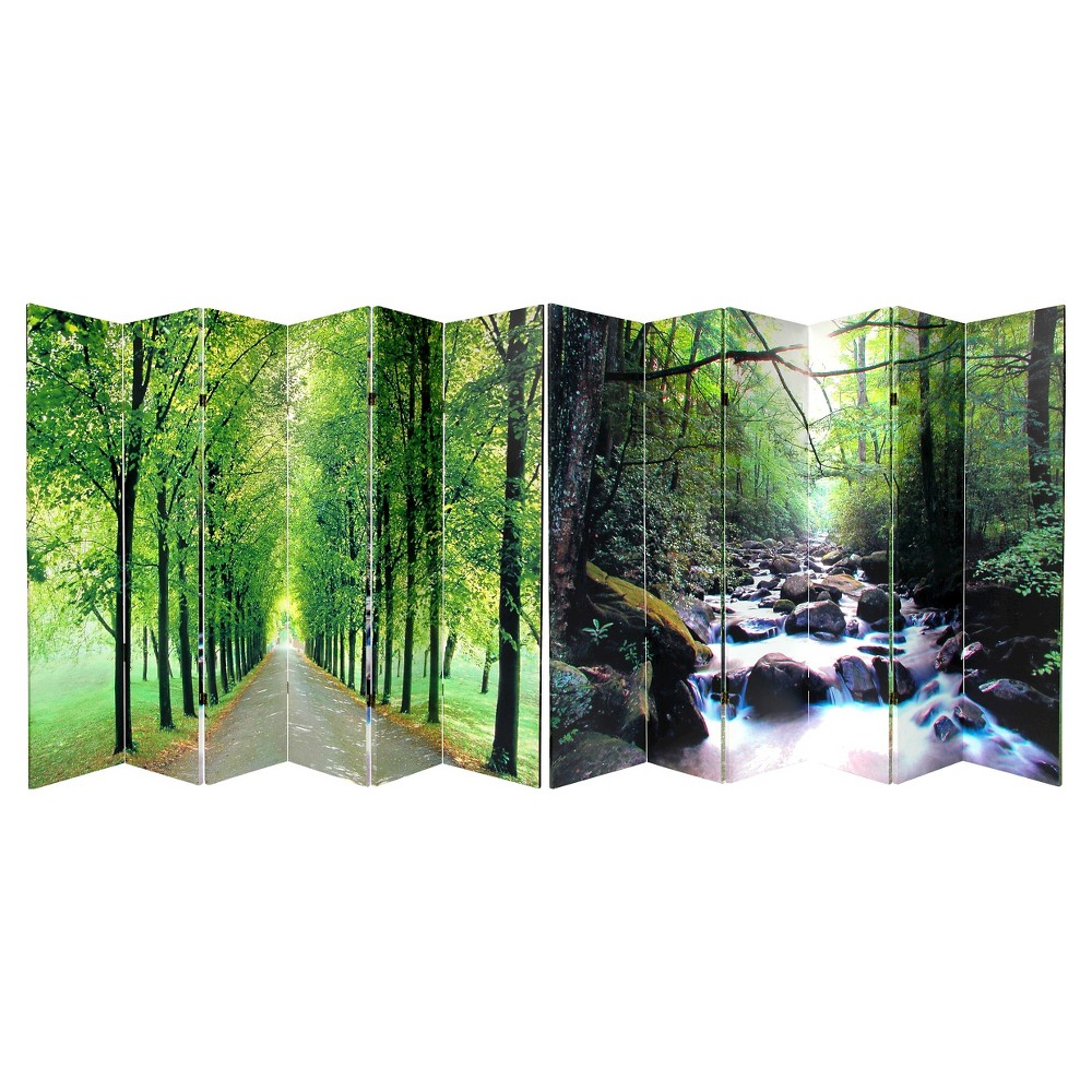 Path of Life Room Double Sided Divider - Oriental Furniture, Green