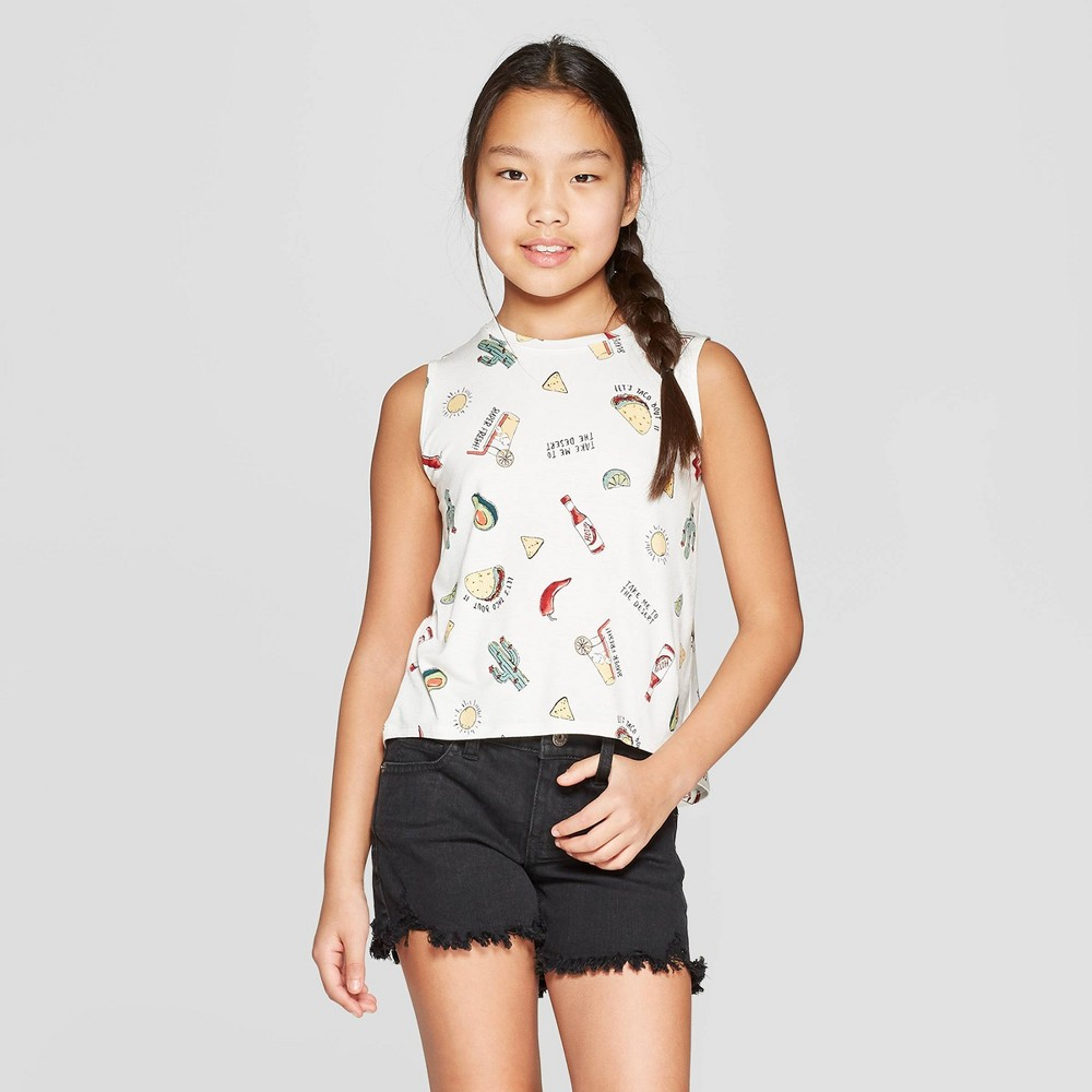 Girls' Graphic Knit Tank Top - art class White L